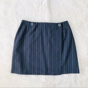 Dolce & Gabbana Navy Stripe Wrap Button Mini Skirt